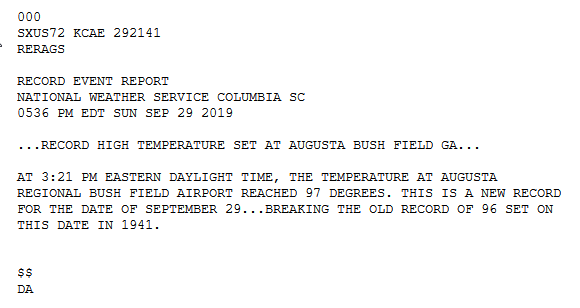 9/29 - another record in the books at @ARA_Augusta Bush Field Airport. 97 degrees breaks the record for this date...was 96 degrees set back in 1941. Meanwhile, @CAEAirport we were 96...one degree shy of the record. Yup, were looking forward to fall too. #gawx #scwx #caewx