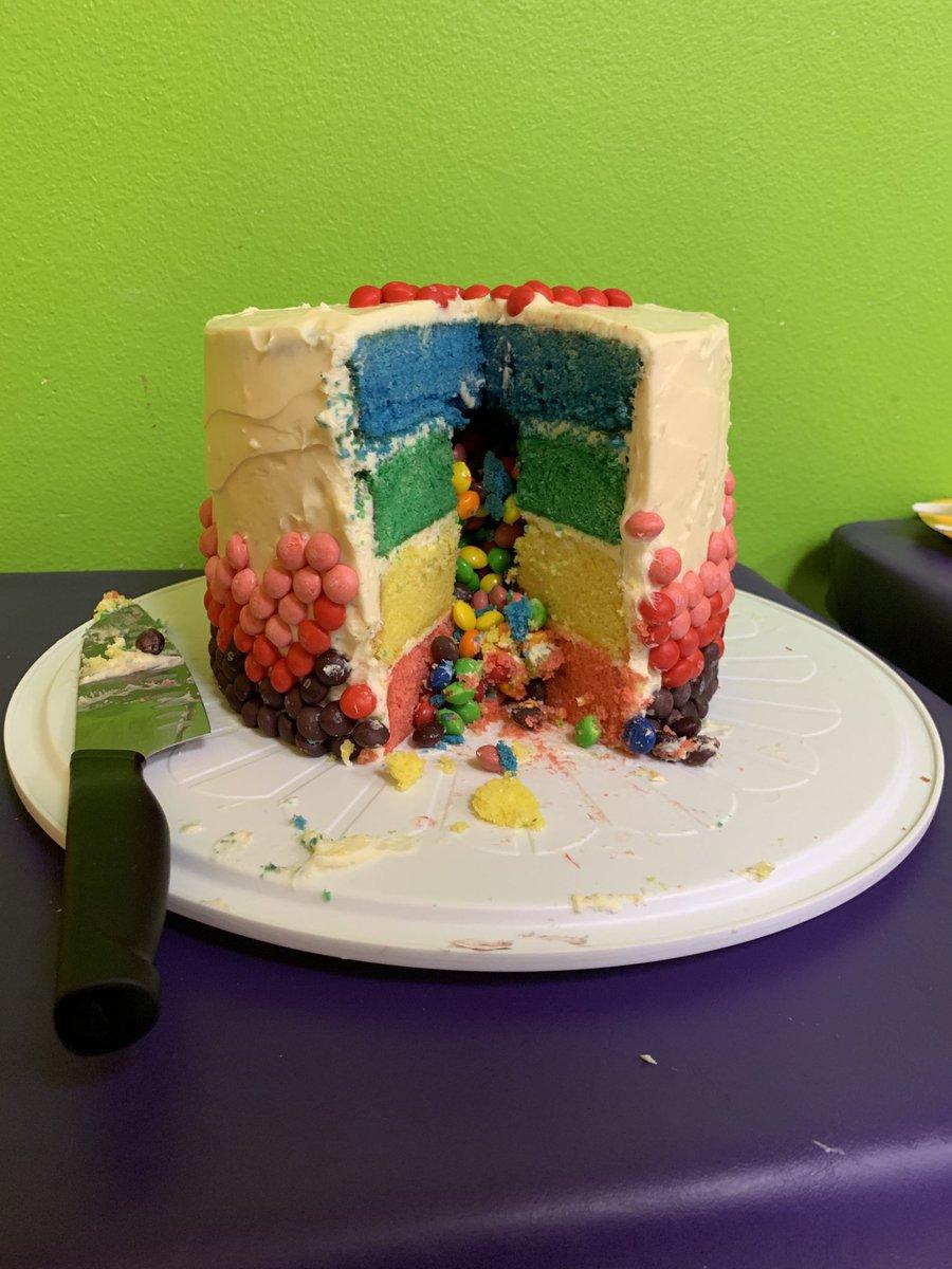 Astounding Alyssa On Twitter Skittles Cake Success Though Putting It In Birthday Cards Printable Benkemecafe Filternl