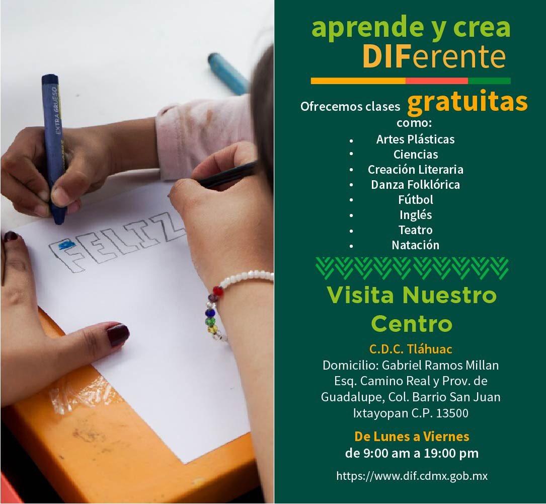 """DIF Ciudad de México on Twitter: """"¡Acércate a cualquiera de nuestros CDC a través de #AprendeYCreaDIFerente! https://t.co/8qLhtQzeCW clases extra escolares gratuitas y dirigidas a niñas, niños y adolescentes de 6 a 15"""