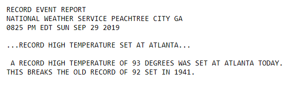 It was a toasty Sunday with record high temperatures set in Atlanta (93°F) and Macon (97°F). The record high temperature was tied in Athens (95°F). Click each picture for more information. #gawx