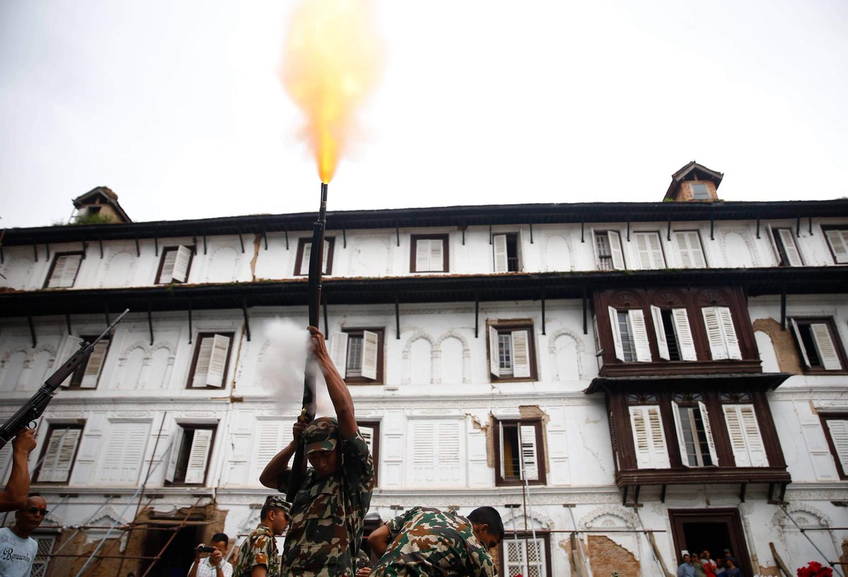 A Nepalese Army soldier fires a shot on Ghatasthapana, to commence the start of Dashain festival, the greatest and longest festival of Nepalese people in Kathmandu, Nepal on Sunday, September 29, 2019.