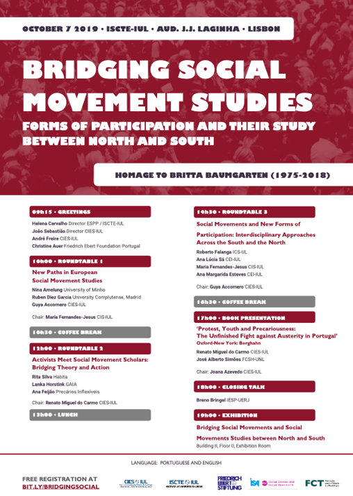 Next Monday, we will meet to commemorate Britta Baumgarten, a fantastic friend, and an innovative and fine social movement scholar. Thank you @brenobringel @RubenDiezGarcia @nina_amelung @CIES_IUL @maria_fernandj and many other friends who contributed to concretizing this event!