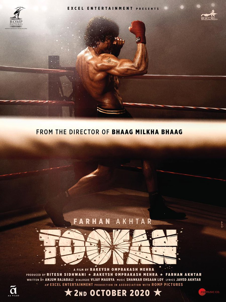 #Toofan Uthega on 2.10.20. Are you ready?  @excelmovies @ROMPPictures @FarOutAkhtar  @ritesh_sid @mrunal0801 @sirpareshrawal @urfvijaymaurya @ShankarEhsanLoy @Javedakhtarjadu @ZeeMusicCompany #AnjumRajabali #AAFilms