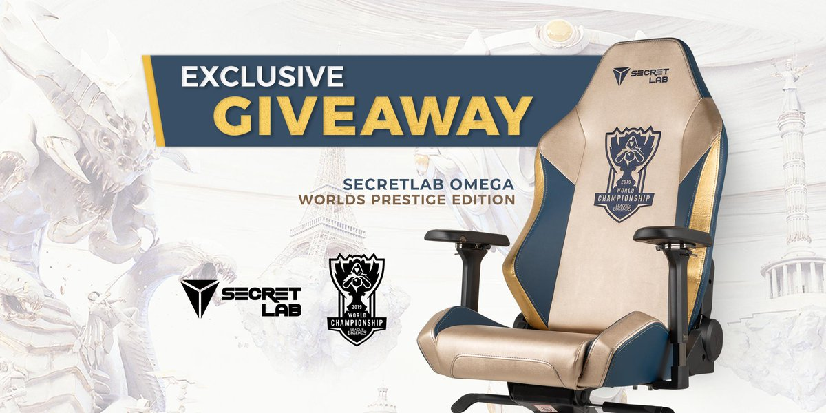 EXCLUSIVE #GIVEAWAY: Secretlab Worlds Prestige Edition ChairWith only 1 in the world, elevate your sitting experience and be like the @lolesports' top pros with the Secretlab Worlds Prestige Edition Chair—crafted with prestige. #Worlds2019Join nowhttp://secretlab.co/lolesports