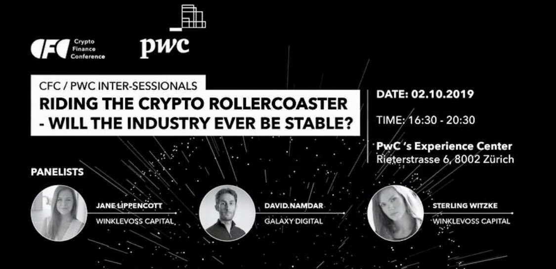 Meet @janehk and @SterlingWitzke from @winklevosscap and @namdar from @GalaxyDigital in Zurich this week (the event is already fully booked). Thanks to @CFCstmoritz and @PwC_Switzerland