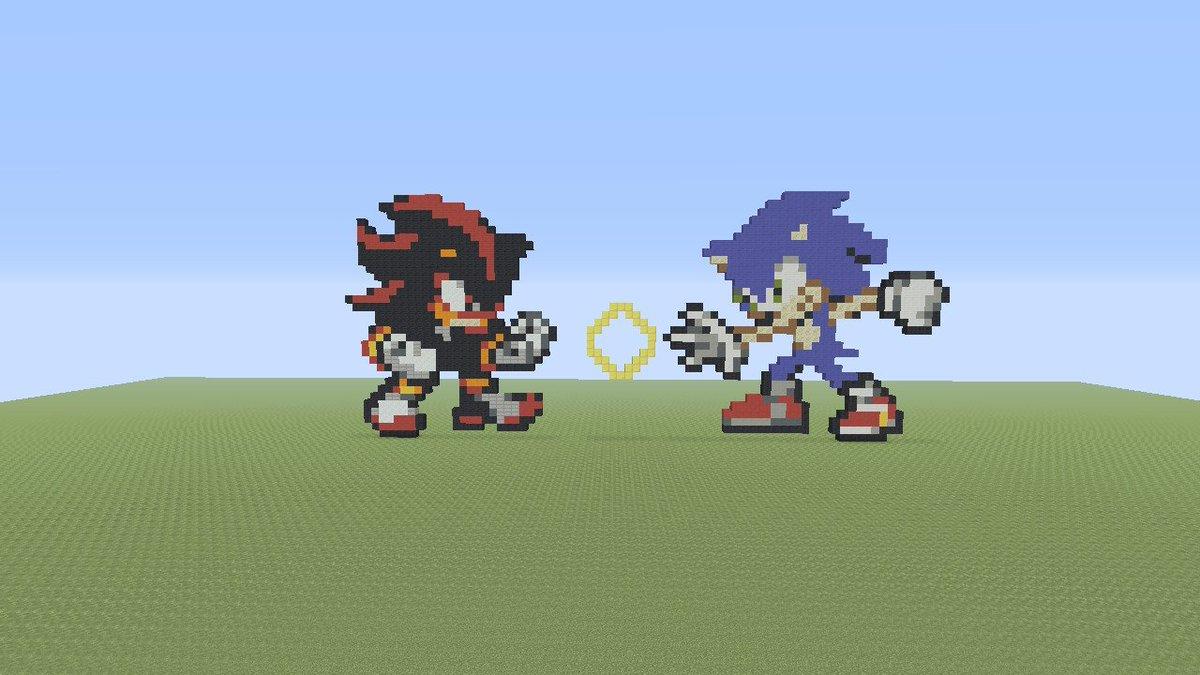 Khalil Sonic On Twitter Sonic Vs Shadow Minecraft Pixel Art Minecraft Nintendoswitch Pixelart Sonic Shadowthehedgehog