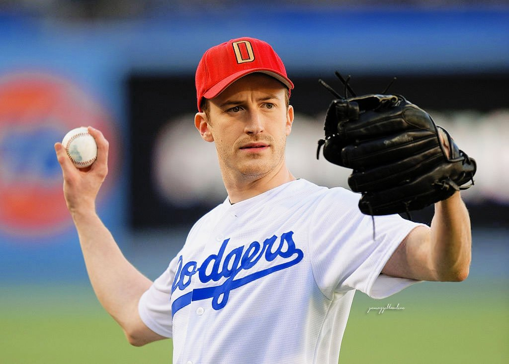 ⠀⠀⠀⠀ ➺ 𝑒𝓋𝑒𝓃𝓉 ┊ Joe Mazzello throws out the ceremonial first pitch before a baseball game between the San Diego Padres and the Los Angeles Dodgers at Dodger Stadium on July 8, 2016 in Los Angeles, California.