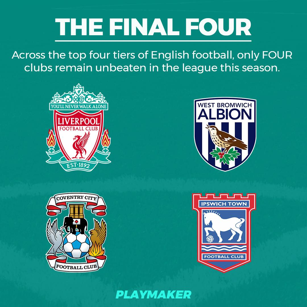 🛡 Unbeaten in the league (2019/20; top 4 tiers): PL: Liverpool Ch: West Brom L1: Coventry, Ipswich #PL #EFL