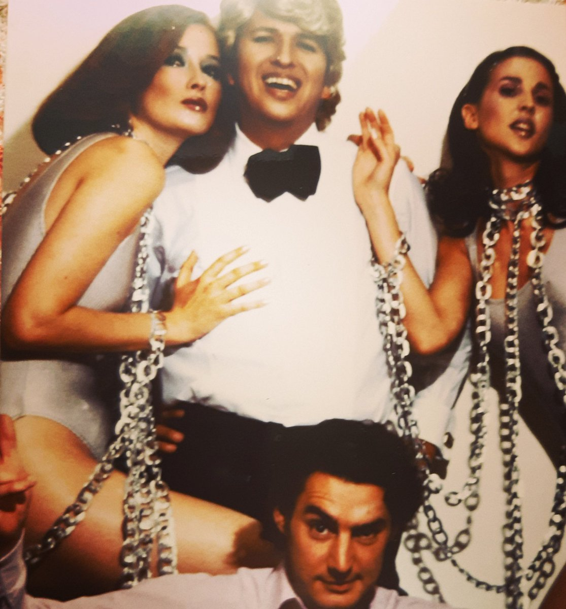 #fashionflashback Fashion Week #1990s @EricBergere @mariotestino @suzannevonaichinger Theme: 1970s kitschy French pop star Claude François and his 'Claudettes'. #crazycats #partytimes #timewarp #memoriesofalifetime #90soutfit #90smodels #backstagesecrets #costumeparty #faghaglife