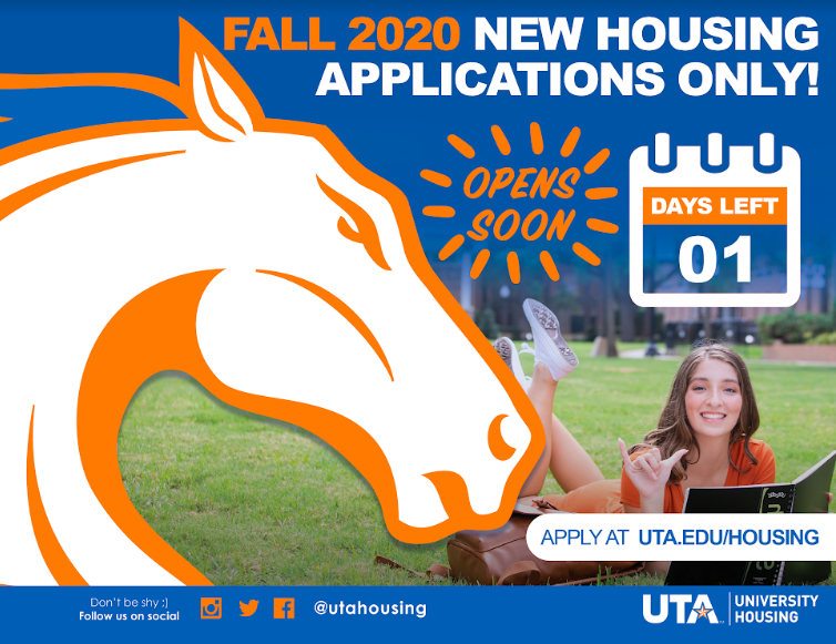 MAV UP @utarlington students! @UTAHousing applications open TOMORROW. Get the Full College Experience in 2020!