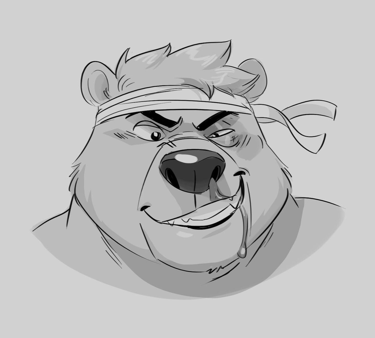 """""""Yer not so tough! Ha ha!"""" Just a post-brawl Brun looking a bit beat up, but he doesn't seem too fazed by it. Headshot by the wonderful @thebluebear27"""