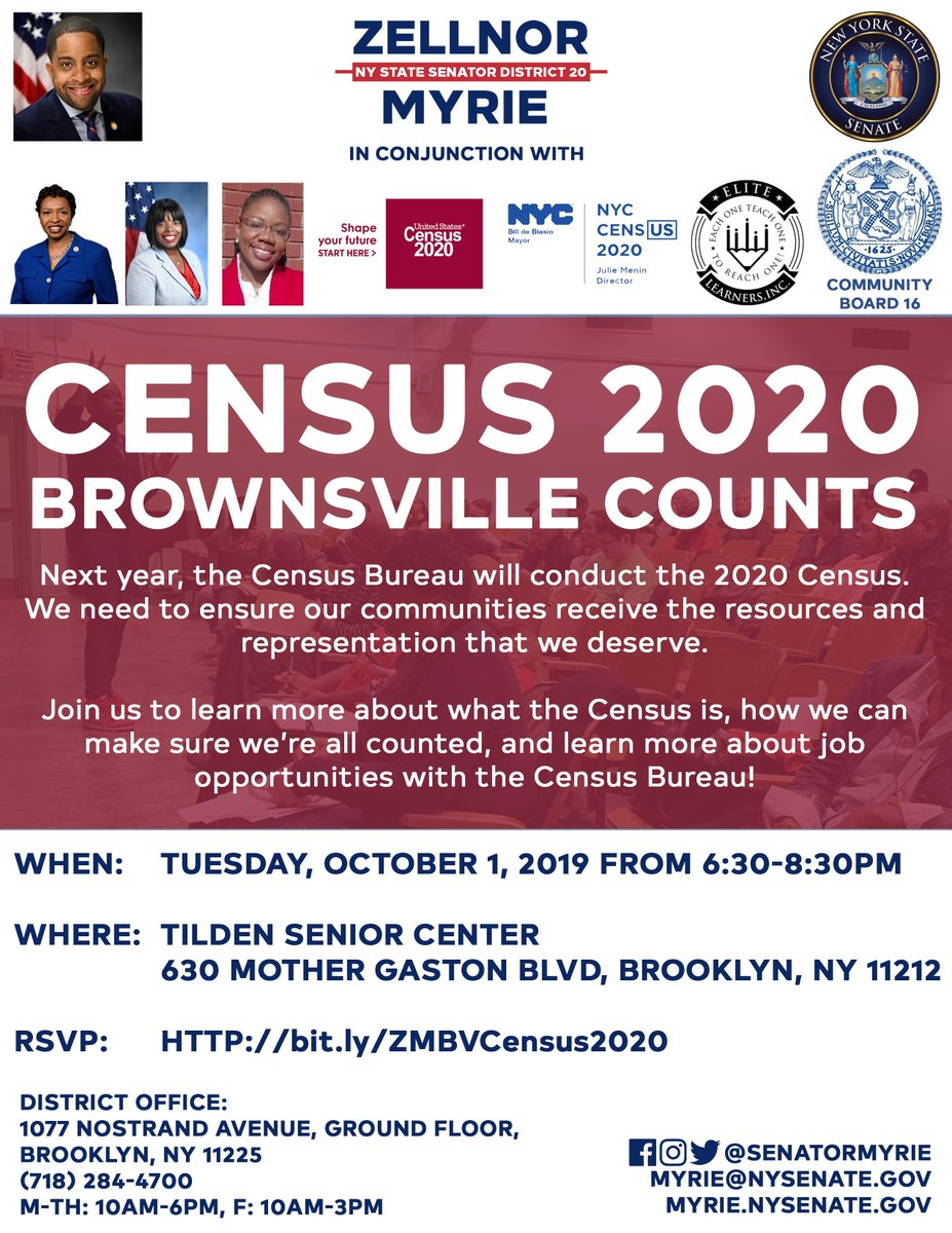 Hey #Brownsville - were having a #Census2020 forum tomorrow evening to make sure Brownsville counts! Well be at the Tilden Senior Center at 630 Mother Gaston Blvd at 6:30PM. See you there! #BrownsvilleCounts #SD20Counts
