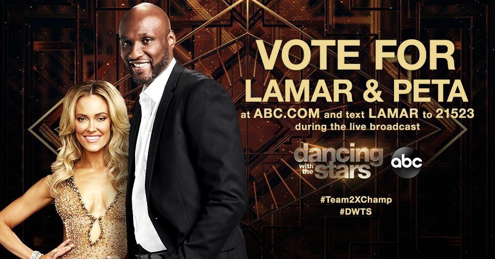Vote for @NBA Legend @RealLamarOdom on Dancing with the Stars tonight from 8pm ET until 10pm ET! 📱 text LAMAR to 21523 💻 online at http://dwtsvote.abc.go.com #Team2XChamp #LegendsofBasketball