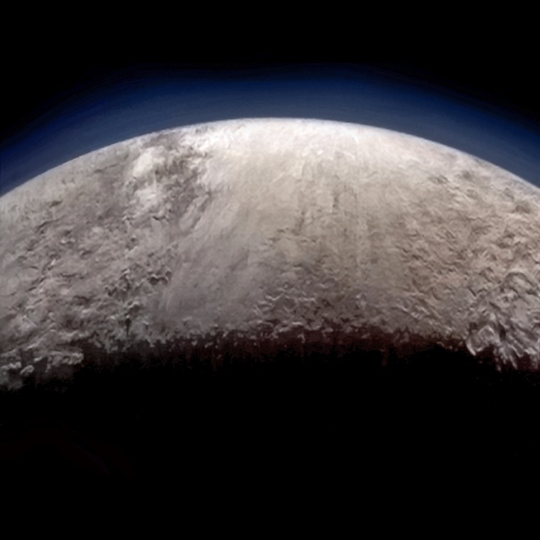 Pluto from the passing New Horizons, scanned by MVIC while the spacecraft was prioritizing other instrument. This crescent image is unique in the @NewHorizons2015 dataset, somewhat lower phase than the famous crescent/haze image, making it scientifically valuable.