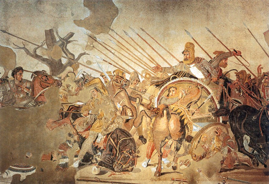 #OnThisDay Oct 1st 331 BC, Alexander III of Macedon fought & defeated the larger army of the Achaemenid king Darius III at the Battle of Gaugamela/Arbela, destroying the Persian Empire. It is seen as one of his most brilliant victories, & likely the subject of this mosaic (1/4)
