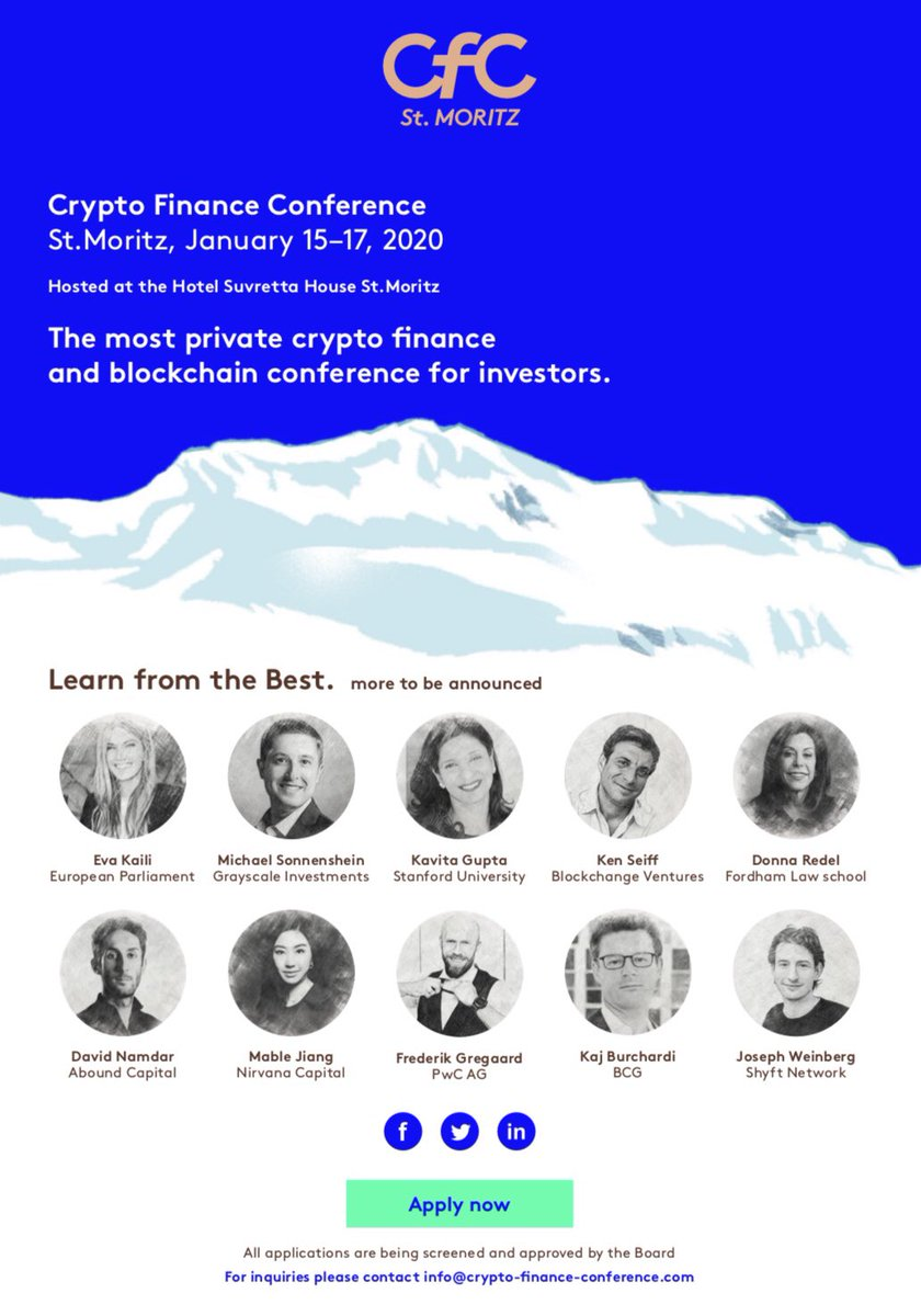 Our third annual 'Crypto Finance Conference' will take place in January before 'World Economic Forum' in St. Moritz crypto-finance-conference.com How do you like our new website and design? #cfcstmoritz @CFCstmoritz