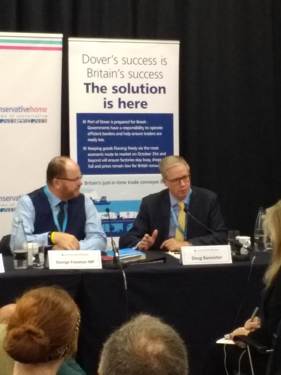 #portofdover has a greater ability to clear backlog and disruption than anywhere else because of its capacity, frequency and efficiency CEO Doug Bannister tells #portofdover @ConHome fringe with @newsfromfta #ConservativePartyConference