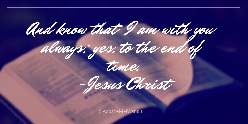 And know that I am with you always; yes, to the end of time. - Jesus Christ #TestimonyTuesday ____________ #TuesdayThoughts #TuesdayWisdom #TestimonyMotivation #Jesus #Amen #Scripture #Bible #October1st