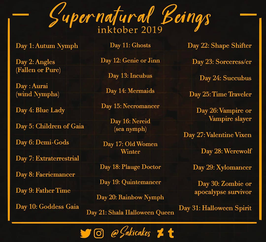 So I made my own #Inktober2019 prompts again and I'm gonna try and push myself xD if anyone wants to do it feel free! Tag me or use #sakicakesinktober2k19 so I can see :D #Inktober #inktoberprompts #inktober2k19 #inktoberprompt #spoopy #Supernaturalbeingspic.twitter.com/v5Ka7xWIIj