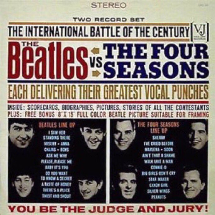 Today in # BeatleHistory in 1964 Vee-Jay records released Beatles vs Four Seasons in UK, now very collectable but beware of counterfeits