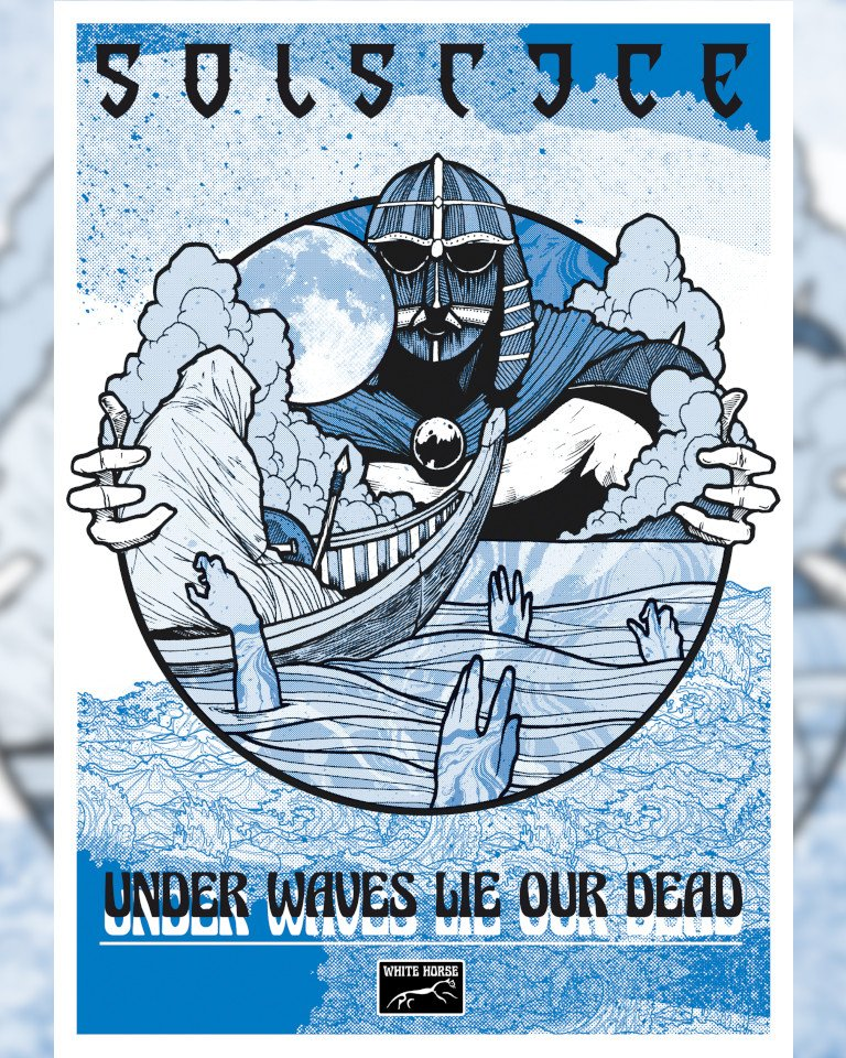 A limited edition three-colour print of 'Under Waves Lie our Dead'. No longer available online, we may have a few left to bring to live shows.  Original artwork by Chris Smith of Grey Aria Design Studio.  #solstice #metal #art #poster #underwaveslieourdead #greyariadesignstudio pic.twitter.com/QK1B2NZPcw