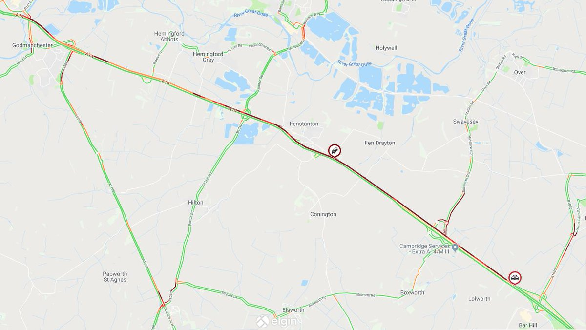 ⚠️ #A14 eastbound between J28 #Swavesey and J29 #Barhill RTC in lane 2 (of 2). Delays heading back to J24 #Godmanchester