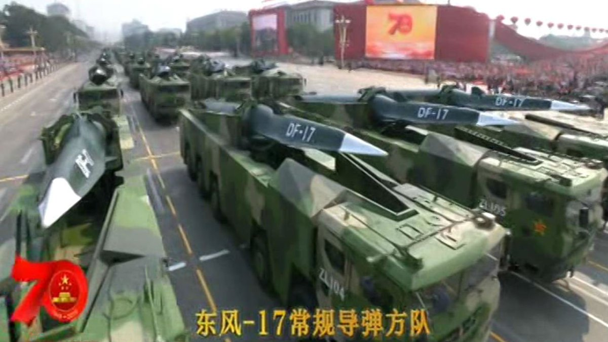 """BBC Monitoring on Twitter: """"China displays the new DF-17 missile for the first time at anniversary parade. State newspaper calls it """"a ballistic missile with very high defence penetration capability"""". #China70Years…"""