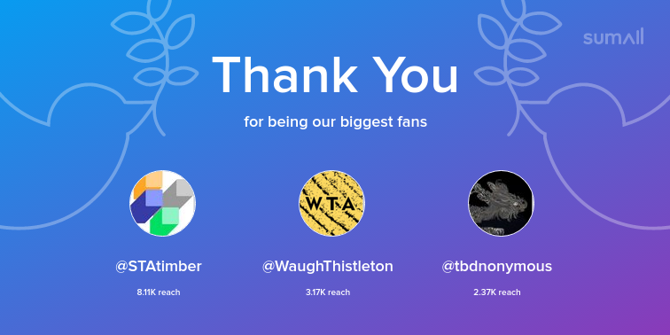 Our biggest fans this week: STAtimber, WaughThistleton, tbdnonymous. Thank you! via sumall.com/thankyou?utm_s…