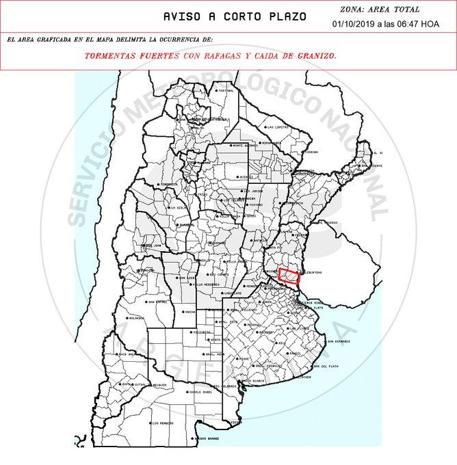 Aviso a muy Corto Plazo 2019-10-01 06:47:00 Validez : tres horas desde su emisión TORMENTAS FUERTES CON RAFAGAS Y CAIDA DE GRANIZO.
