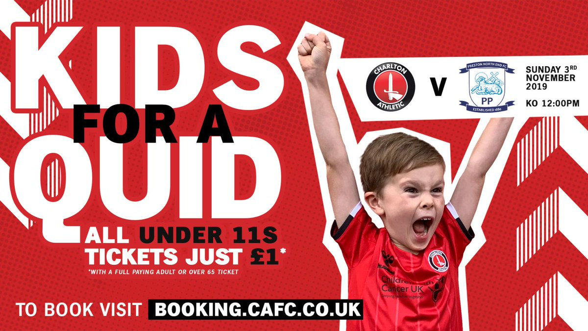 🎟️ Our Kids for a Quid tickets are on sale! Get your tickets for our home match against @pnefc on Sunday, November 3rd (12pm). 👉booking.cafc.co.uk/en-GB/categori… #cafc