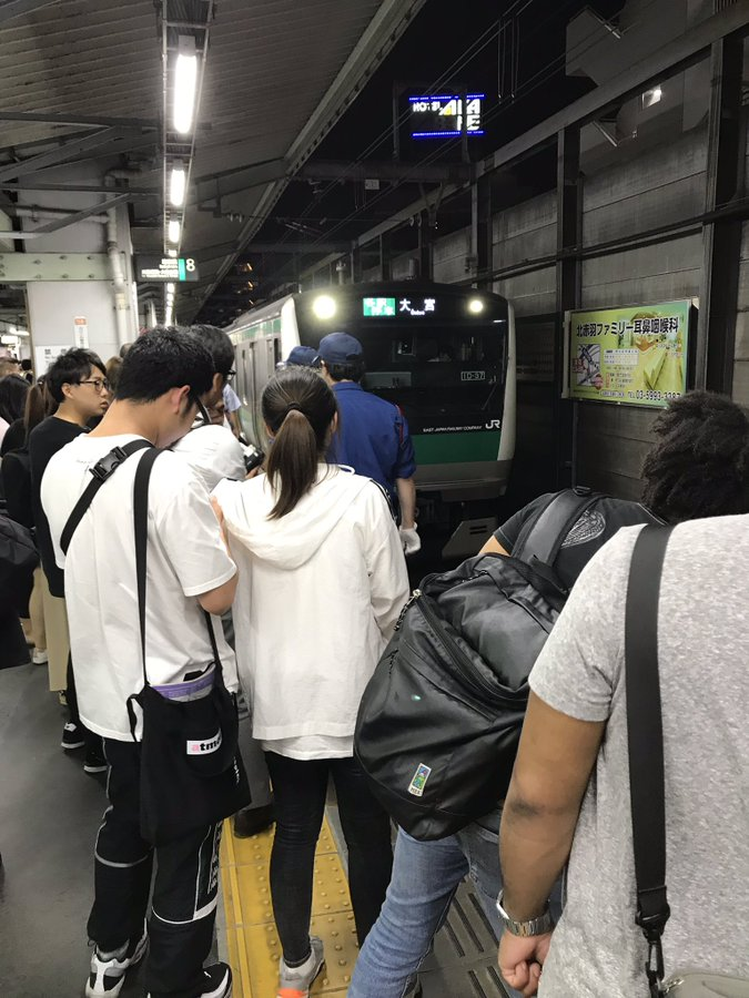 埼京線の赤羽駅で飛び込み自殺の人身事故が起きた現場の画像