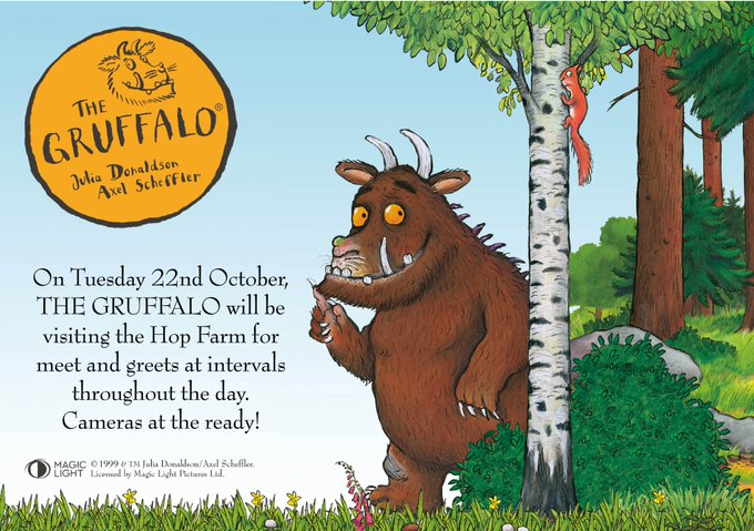This Halloween half term (19-27 October) enjoy our fun children's attractions AND on Tuesday 22nd October come and meet THE GRUFFALO!! Cameras at the ready! https://t.co/nWvhqqIdHI @TheRealGruffalo #gruffalo #halloween @KMWhatsOn @VisitKent @MumsnetK...