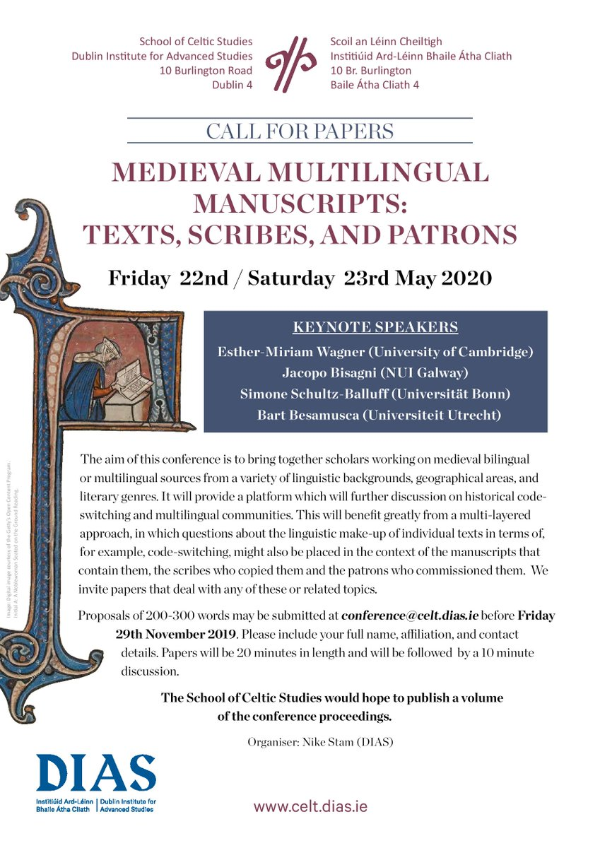 test Twitter Media - *Call for papers* Medieval Multilingual Manuscripts:  Texts, Scribes, and Patrons 22nd + 23rd May 2020 @DIAS_Dublin  Organiser: Dr Nike Stam @Naoicea  #DIASdiscovers https://t.co/aouJxhqdUm https://t.co/uKeFWK4f2l