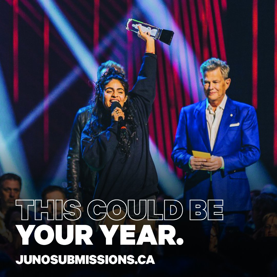 Attention artists! Submissions for @TheJUNOAwards 2020 are now open! The early bird deadline to apply is October 18. More info at bit.ly/2ngOypC