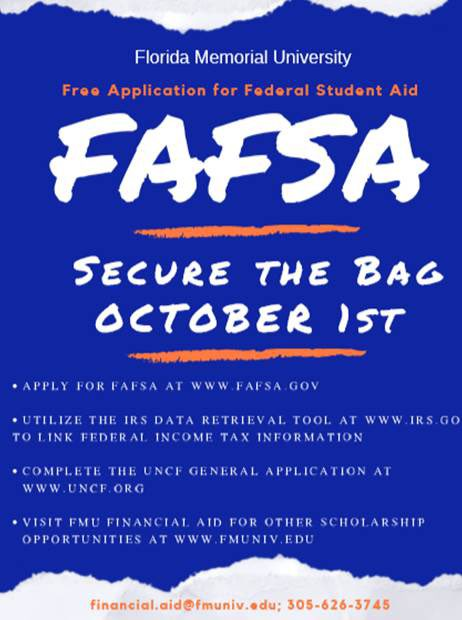 FAFSA opens today for next year! Apply at fafsa.gov #SecureTheBag #Oct1 #FAFSA
