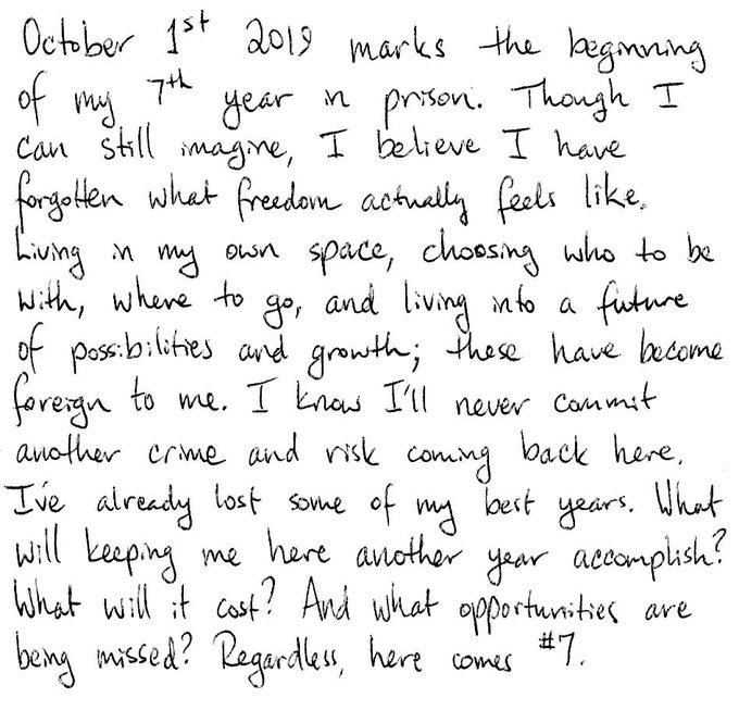 Carta de Ross Ulbricht por su 7° año en prisión.