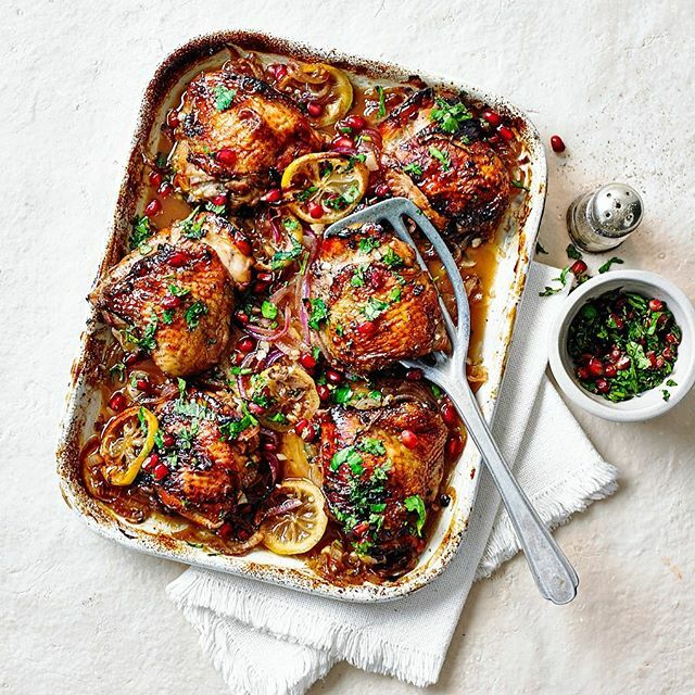 One from this months @deliciousmag Roast chicken thighs, using the game changer ingredient pomegranate molasses. Recipe @jenbedloe Food styling @sophie_cooks Props @victoriaeldridge https://ift.tt/2oVfPOA