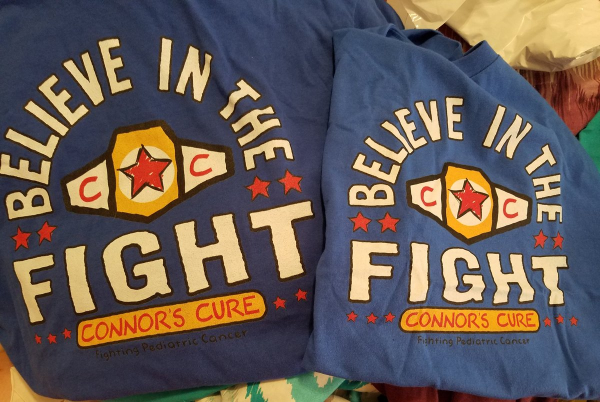 My son and I finally got our @ConnorsCure t-shirts today! Pediatric cancer awareness month may be over but the fight continues and we will wear them with pride! #ConnorsCure #PeadiatricCancerAwareness #KickCancersButt