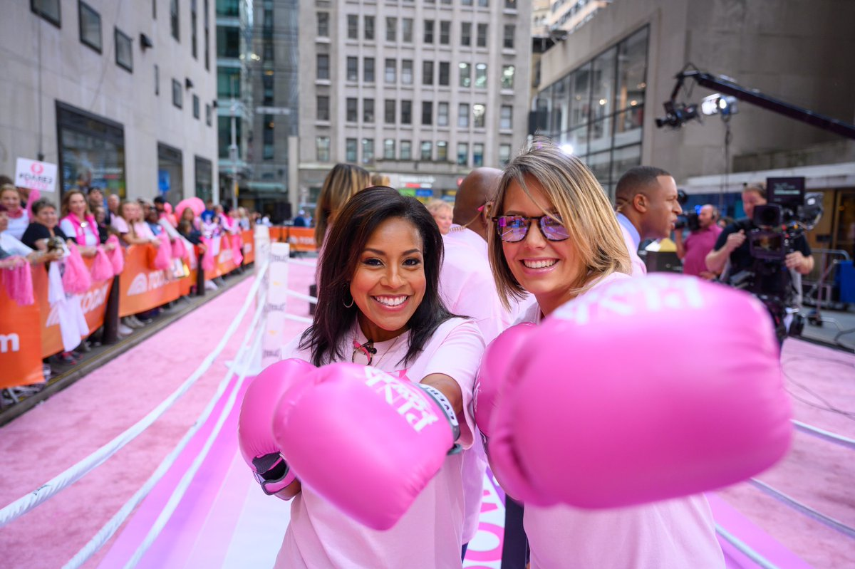 The plaza was turned pink this morning to kick off Breast Cancer Awareness month #pinkpowertoday #breastcancerawareness @SheinelleJones @TODAYshow