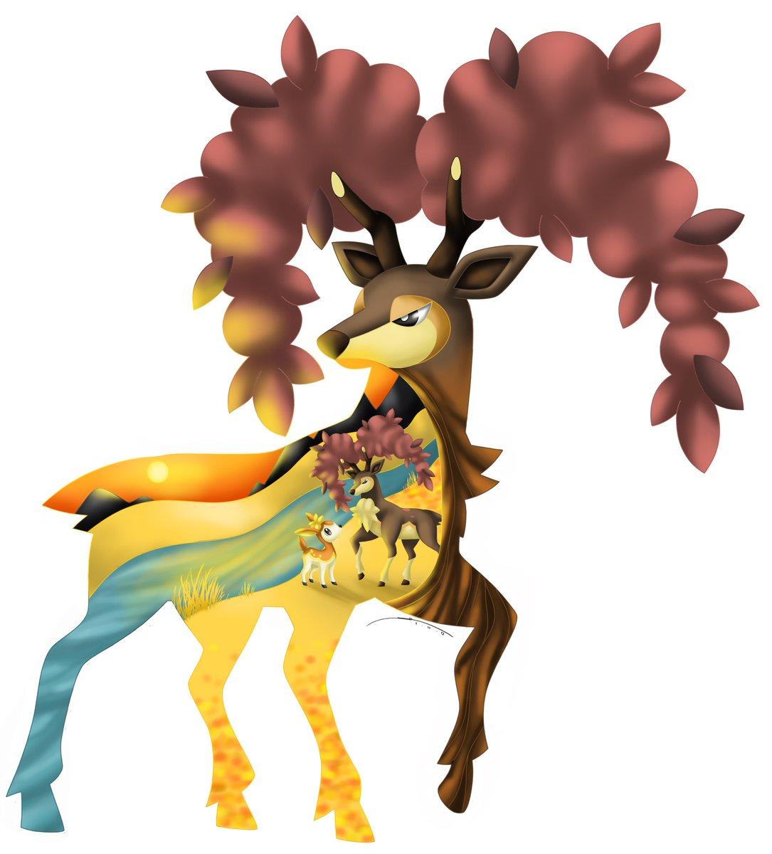 Fall Sunset 🌅  I'm trying a new style ^^ And since it's fall, the Autumn form of Sawsbuck is a perfect start. Plus, I like Sawsbuck ^^  What do u think?   https://darkrailady.deviantart.com/  #pokemon #pokemonfanart #sawsbuck #autumn #fall