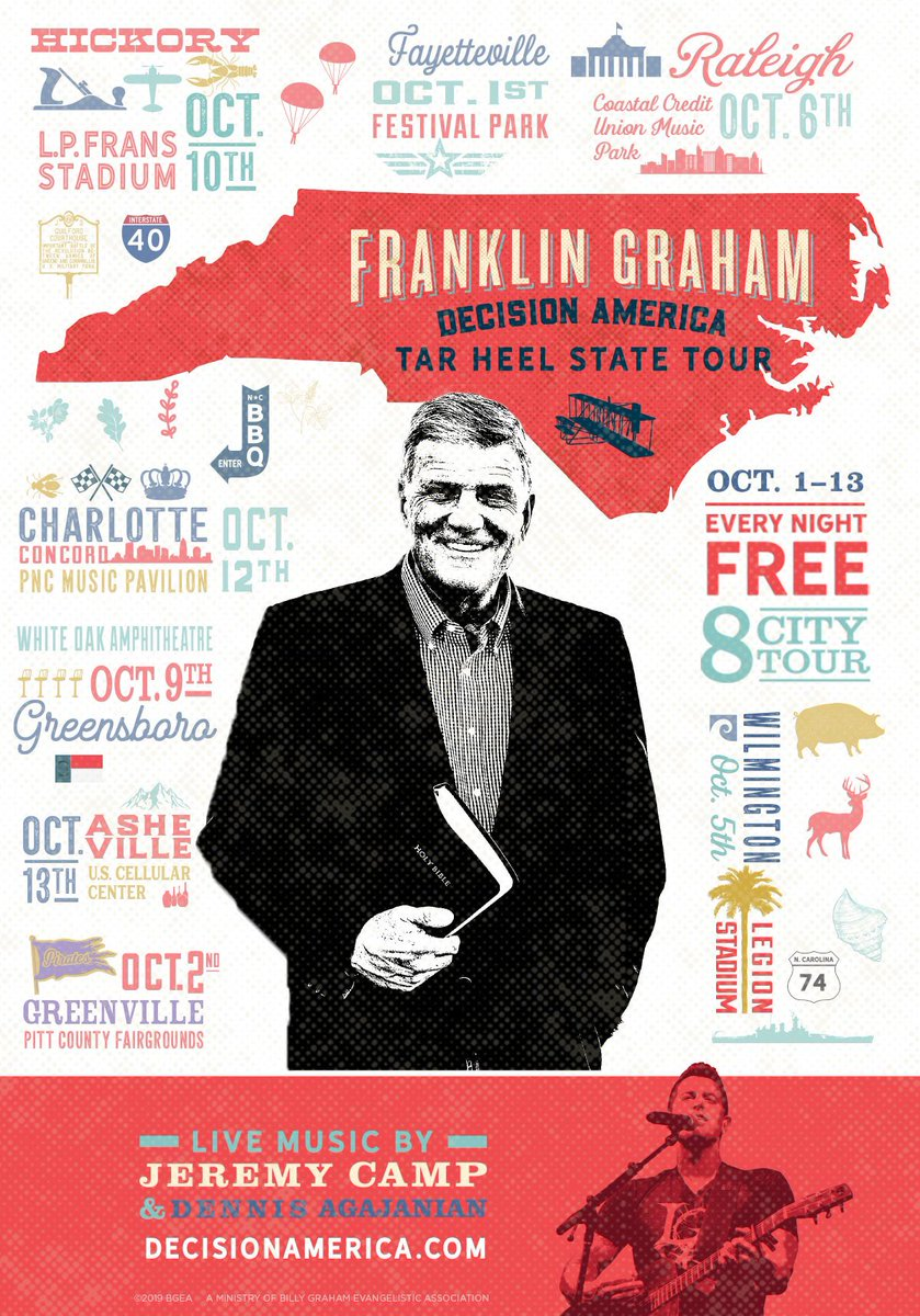 The Tar Heel State tour with my dad, @Franklin_Graham, starts TONIGHT!