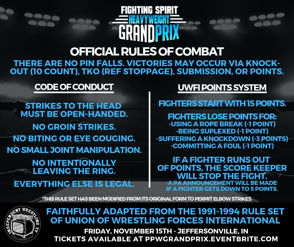 On Friday, November 15th in Jeffersonville, IN, the #PPWGrandPrix will be held under full #UWFI rules. To our knowledge, this is the first time the complete rule set has been used in the United States in more than 20 years...  Get tickets at https://t.co/WQL7osxaZ5! https://t.co/4Pi1F8BWu9