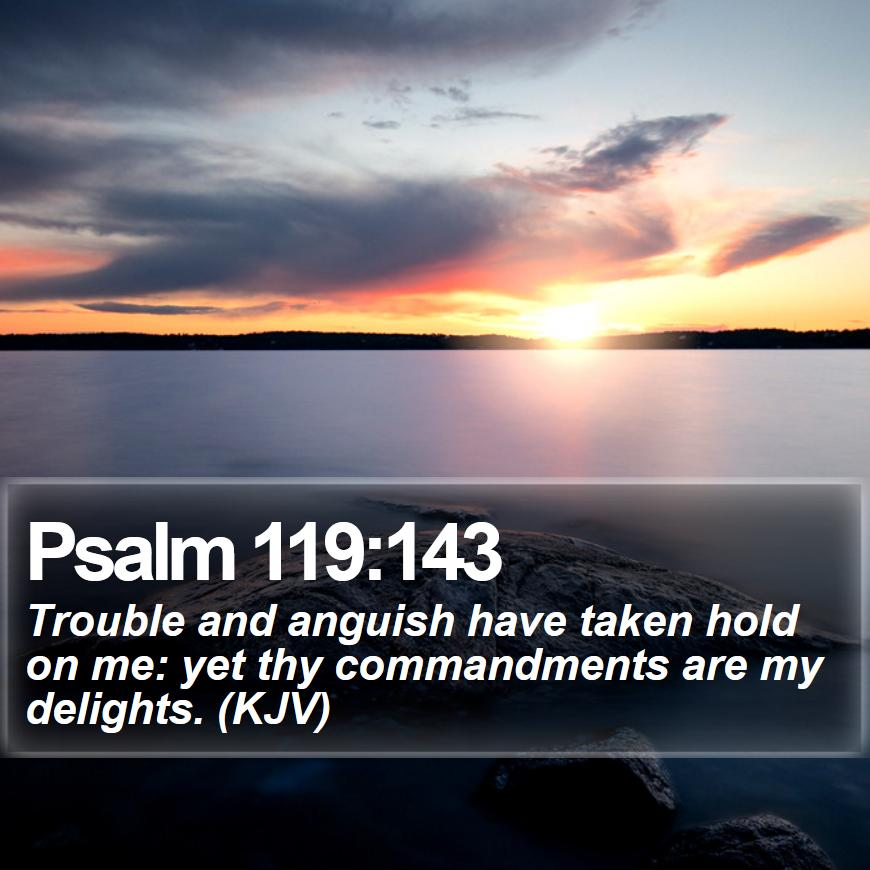 """Bible SMS on Twitter: """"Psalm 119:143 - Trouble and anguish have taken hold  on me: yet thy commandments are my delights. (KJV) #Christians #Alpha  #Wisdom #GoodMorning #FamousQuotesWallpapers https://t.co/ZgyegCsItX…  https://t.co/jkdvzSYwHk"""""""