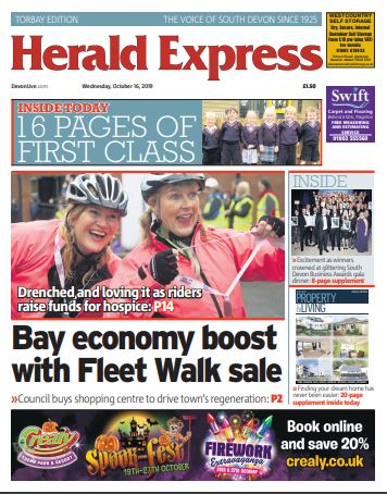 In todays massive 112-page @TQHeraldExpress - All your fabulous First Class pictures - Torbay Council buys Fleet Walk - Anarchy at sea Brexit warning - Ride for Rowcroft pictures - #sdba19 Business Awards supplement - Woman arrested after car plunges off cliff - and more