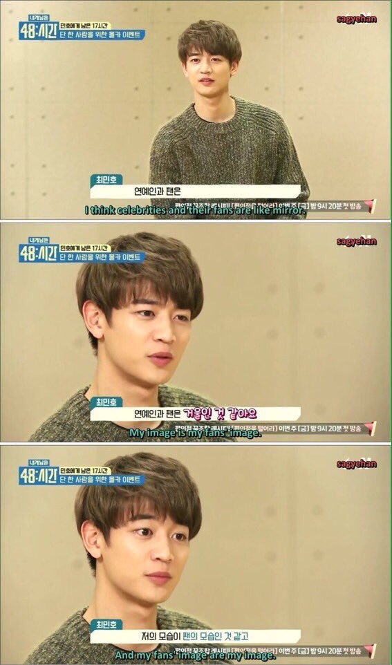 """This applies for everyone, I'm not pointing fingers but before you use words carelessly, please remember.  """"I think celebrities and fans are like two sides of a mirror. I am a reflection what my fans are like and the fans are a reflection of what I am like…""""  Pic cr :sagyaehan <br>http://pic.twitter.com/mTvmt354MH"""