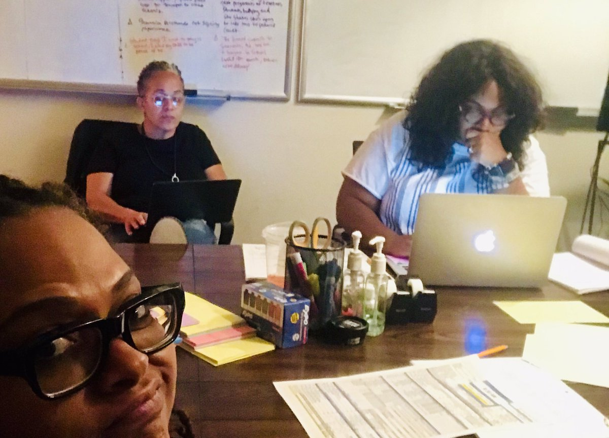 Late-night writing session with the brilliant co-executive producers of CHERISH THE DAY: #TeriSchaffer and #RaynelleSwilling. We're working on the season finale episode starring @XoshaRockstar @AlanoMiller and the legend @IAmCicelyTyson. 🙌🏾 https://t.co/CD50rCcNQ3