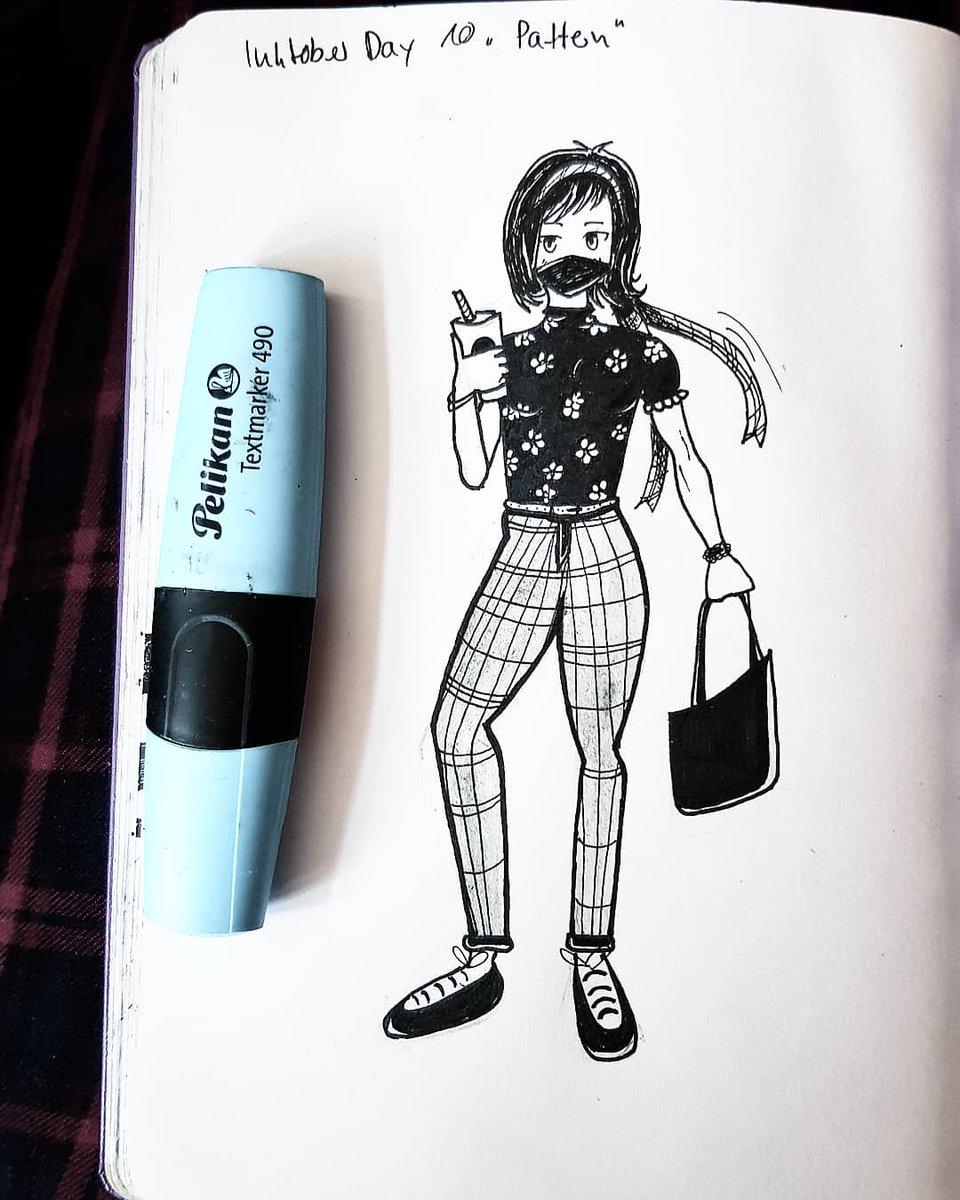 #inktober Tag 10 Pattern Tag 10 an Tag 16, naja. Man beachte bitte, dass ich das Bild auf meiner karierten Hose fotografiert habe😎 #inktober2019 #inktoberday10