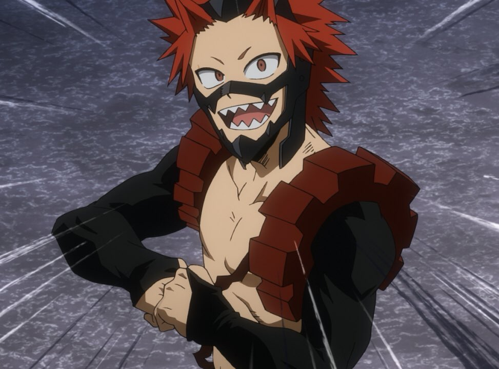 The new picture of Kirishima that the official BNHA twitter posted for his birthday today (10/16) is actually a new shot from Season 4, referring to this scene in the manga!! <br>http://pic.twitter.com/ngQyA8y8uM
