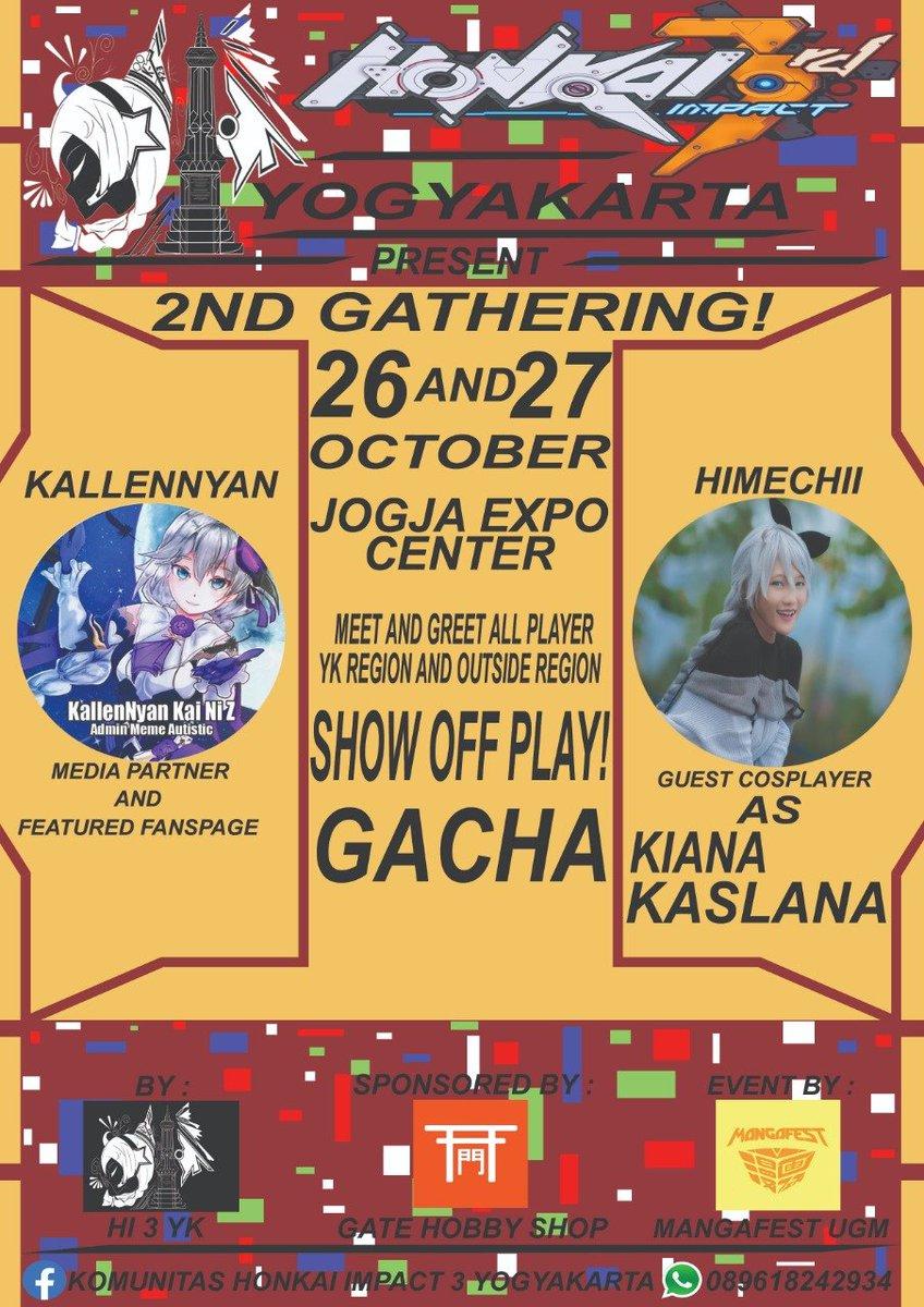 Heyyy captain~!! Ayo ikutan gathering dan MnG all captain HI3 di Mangafest 9 tgl 26-27 Okt, di booth K15 Captain bisa ikut gacha, co-op play, dan masih banyak lagi See you !!  #HONKAIIMPACT3 #gathering #Mangafest9 #mangafestUGM #mangafest2019