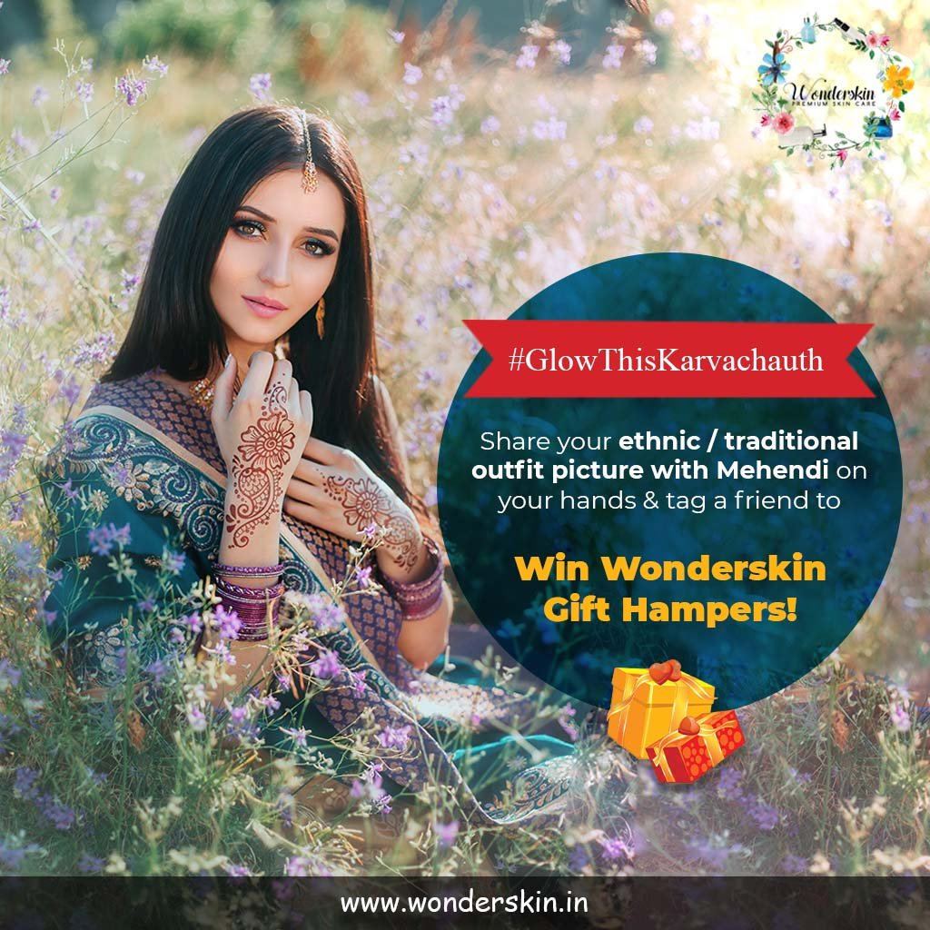 Ladies, here is an exciting chance to win amazing Wonderskin Gift Hampers!  Enjoy the true spirit of Karwachauth & upcoming festivities, participate in #GlowThisKarvachauth.   Share your ethnic/traditional outfit picture with Mehendi on your hands & Tag a friend.<br>http://pic.twitter.com/jdn7H3WTw3